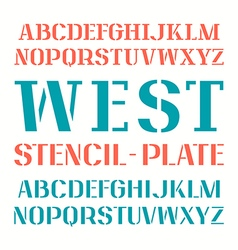 Set of uppercase stencil plate font vector