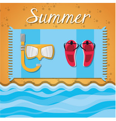 Set summer icon over sand and beach vector