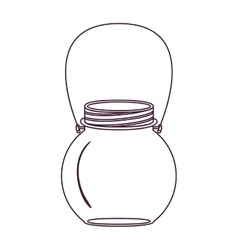 silhouette circular glass container with handle vector image vector image