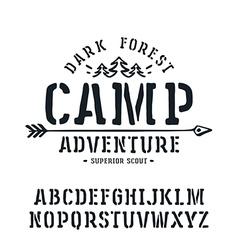 Stencil plate serif font vector