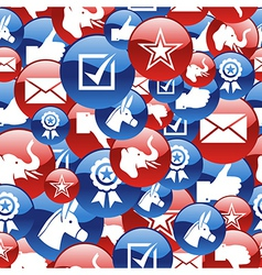 USA elections glossy pin badge icons pattern vector image