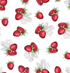 Watercolor Seamless pattern with strawberry vector image