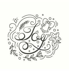 Joy card winter holiday typography handdrawn vector