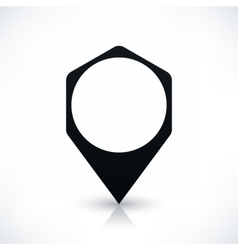 Black hexagon map pin sign flat location icon vector