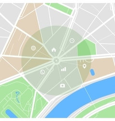 Map of the city with streets parks and pond flat vector
