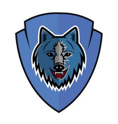 wolf logo team vector image