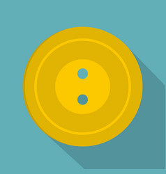 Yellow sewing button icon flat style vector