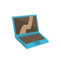 Blue modern laptop cartoon vector