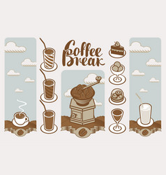 banner on a coffee theme in a retro style vector image