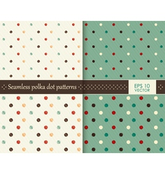 Set seamless colorful polka dot pattern vector image