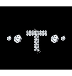 Diamond alphabetic letter T vector image