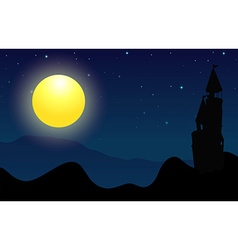 Silhouette scene of castle on fullmoon night vector image