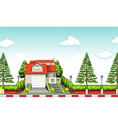 House with red roof at daytime vector