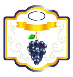 Grapes label vector