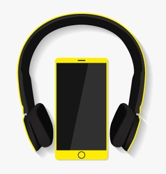 Yellow headphones and phone vector