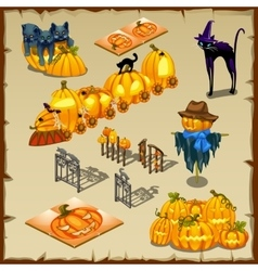 Halloween characters pumpkins and decorations vector
