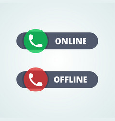 Online and offline status buttons vector