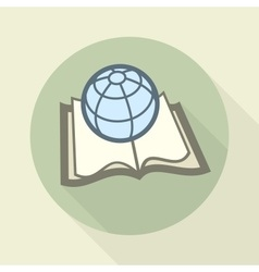 Globe on book science concept vector