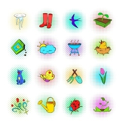 Spring icons set pop-art style vector
