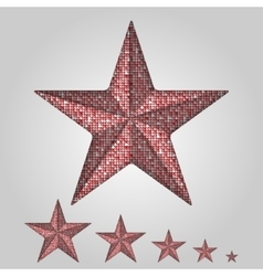 Red star with elements of sequins vector