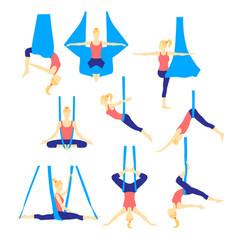 aero yoga flat icons vector image vector image