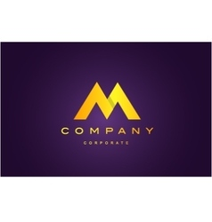 Alphabet letter m purple gold logo icon design vector