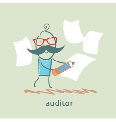 Auditor writes on a piece of paper vector image vector image