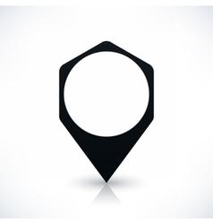 Black hexagon map pin sign flat location icon vector