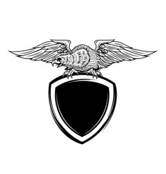 Blank emblem template with eagle bird vector