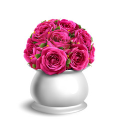 bouquet of roses in flowerpot festive vector image