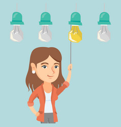 business woman switching on hanging idea bulb vector image vector image