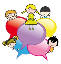 Children with dialogue bubbles vector image vector image