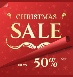christmas sale banner template with swirled red vector image vector image