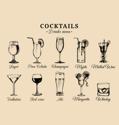 cocktails and alcoholic beverages glasses hand vector image vector image
