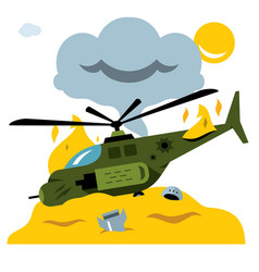Combat helicopter crash flat style vector