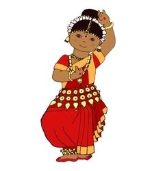 Cute dancing indian girl vector