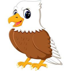 cute eagle cartoon waving vector image vector image