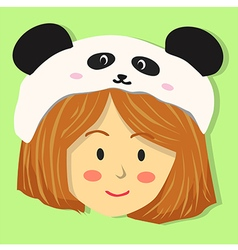 Cute girl with panda hat vector