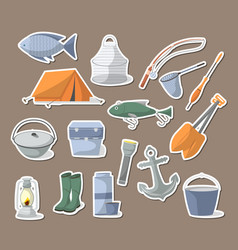 fishing icons set in flat style vector image