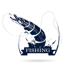 fishing logo monochrome of pike with fishing rod vector image vector image