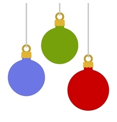 Flat Style Christmas Balls on White Background vector image