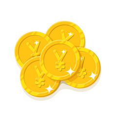gold chinese yuan or japanese yen coins cartoon vector image vector image