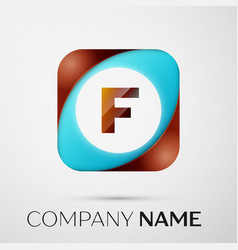 letter f logo symbol in the colorful square on vector image vector image