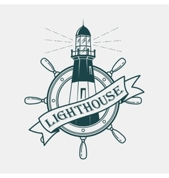 Lighthouse building with ships or boats wheel vector