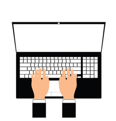man hand on laptop vector image