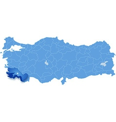 Map of turkey mugla vector