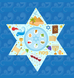 Passover greeting card with icons in the shape vector