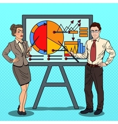 Pop art business people with pointer stick vector