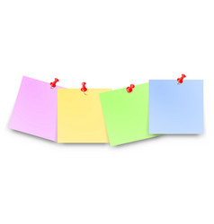 Post papers with red pin set blank text place vector