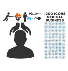 Psychiatry hands icon with 1300 medical business vector